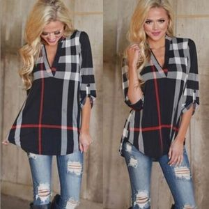V Neck 3/4 Sleeve Pullover Plaid Top NWT